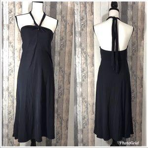 Ann Taylor Navy Tie Neck Halter Dress 10